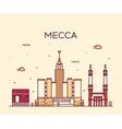 Mecca skyline Trendy linear vector image