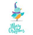merry christmas birdie title vector image vector image