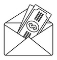 money in envelope icon outline style vector image