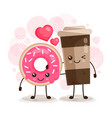 morning breakfast pink donut and coffee character vector image