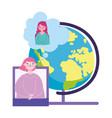 online education teacher and student girl vector image