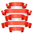 Red glossy ribbons on a black background eps 10 vector image vector image