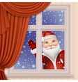 Santa Claus looking through window vector image vector image