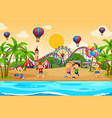 scene background design with children at the vector image