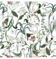 seamless pattern with wild thin flowers vector image