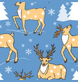 seamless pattern with winter forest and cute deers vector image
