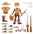 set with fisherman and fishing some objects vector image vector image