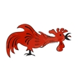 Silhouette of red rooster vector image vector image