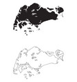 singapore country map black silhouette and vector image