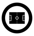 soccer field icon black color in circle vector image vector image