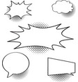 speech cartoon bubbles icon set with halftone vector image