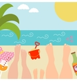 Summer background with with family at the seaside vector image