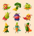 superhero fruits fruity cartoon character vector image