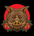 traditional boar tattoo vector image vector image