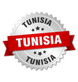 tunisia round silver badge with red ribbon vector image vector image