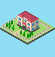 two-storey house isometrically with a fence vector image vector image