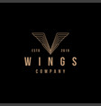 vintage letter v wing logo icon template vector image vector image