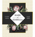 wedding invitation with leaves protea flowers vector image vector image