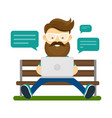 young hipster man with beard and glasses vector image vector image