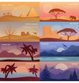 Desert landscape and egypt pyramids wildlife vector image
