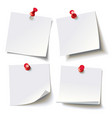 different sheets pinned red pushbutton vector image