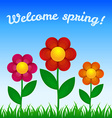 Flowers on field - Spring design vector image