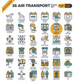 air transport travel outline icons vector image vector image