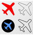 airplane eps icon with contour version vector image