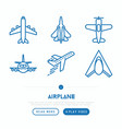airplane thin line icons set vector image