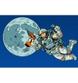 Astronaut with a drill and flashlight on the Moon vector image vector image