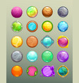 big set of cartoon round colorful buttons vector image