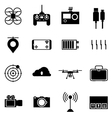 Black icons for quadrocopter set vector image vector image