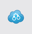 Blue cloud handcuffs icon vector image vector image