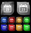 calendar page icon sign Set of ten colorful vector image vector image