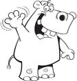 Cartoon Hippo Waving vector image vector image