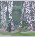 cartoon painted background of a birch forest vector image