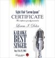Certificate best karaoke singer vector image vector image