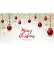 Christmas web banner with red and glass balls vector image vector image