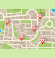 city map navigation plan with red pins gps vector image