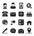 contact icons set vector image vector image