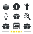 Cooking pan icons Boil five eight minutes vector image vector image