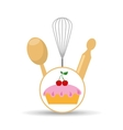 Cookware and cake vector image
