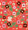 coral pink and deep red floral repeat print vector image vector image