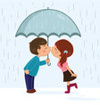 Couple kissing in the rain vector image vector image