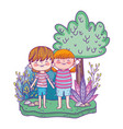 cute little kids in the landscape vector image