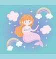 cute little mermaid rainbows clouds decoration vector image vector image