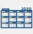 desk calendar for year 2020 in blue design vector image vector image
