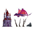 dragon castle trees or rock cartoon isolated set vector image