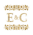 e and c vintage initials logo symbol vector image vector image