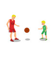 flat father playing with guys basketball vector image vector image